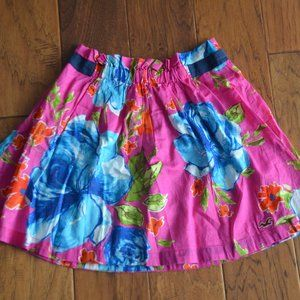 Hollister Pink & Floral Lined Mini Skirt Size S